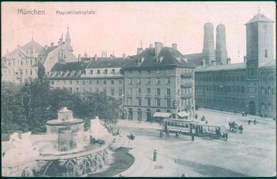 27A1085  Mnichov / München, Maximiliansplatz, tramvaje, koně, Německo