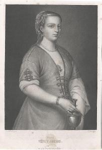 Benátčanka podle Tiziana,, akvatinta, 1840
