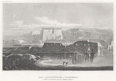Phylae Egypt, Meyer, oceloryt, 1850