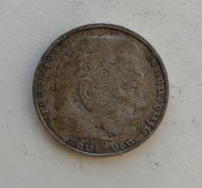2 Reichsmark 1937 A Říšská marka Paul von Hindenburg Ag mince stříbro