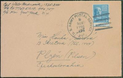 12D47 Dopis z voj. útvaru US Army APO 757 New York - Plzeň