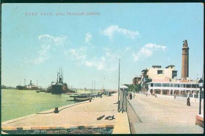 27A929 Port Said, nábřeží FJ, Egypt, vlak. raz. Jičín - Wostroweř, RR