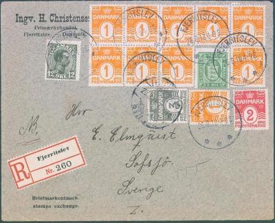 17B129 R dopis Dánsko do Švédska, mimořádná frankatura