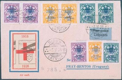 17B131 Letecký dopis Riga/Litva do Fray - Bentos/ Uruguay vzácné