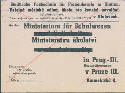 10B873 Klatovy - Praha - Domažlice, 2x použ. obálka, rarita