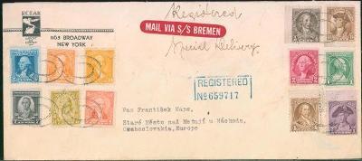 20B115 New York – Staré Město nad Metují, zasl. lodní poštou SS Bremen