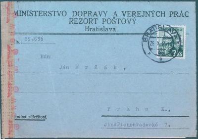 9A40 Slovensko MINISTERSTVO DOPRAVY,rezort poštový/Ján MRŇÁK- Rarita!!