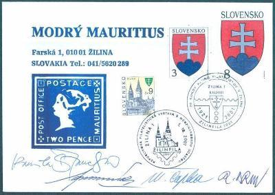 9A48 Slovensko Modrý Mauritius-  Podpisy slovenských filatelistů