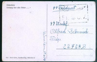 28A407 Munchen- Vojenská polní pošta , mimořádné razítko- Německo
