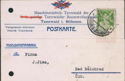 10B2301 Lístek Tanvald - Lázně Bělohrad, vlak. razítko Šumburk-Tanvald