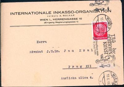 14B838 Firemní obálka Vídeň - Praha, mimořádné stroj. razítko