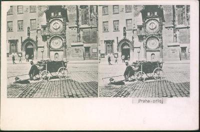 10D1830 KOLÍN František Krátký- stereoskopická fotografie- Praha Orloj