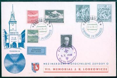12B282 Böhmen- Mähren, Pardubice- motocyklové závody LOBKOWICZE 12.VI.