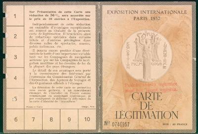 10B1663 Jízdenka+ legitimace na světovou Filat. výstavu Paříž 1937  R!