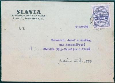 10B1672 SLAVIA- Vzájemná pojišťovna Praha, Kaznějov, specielní známka