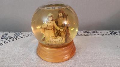 Velké těžítko s melodií vánoční náboženský motiv Marie, Josef Ježíšek