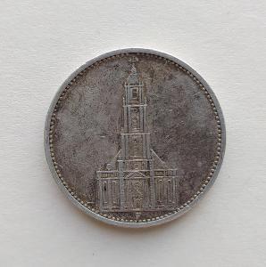5 Reichsmark 1934 F Říšská marka věž kostela g Ag mince stříbro