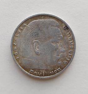 5 Reichsmark 1936 A Říšská marka Paul von Hindenburg Ag mince stříbro