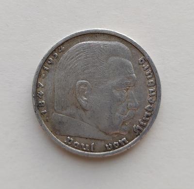 5 Reichsmark 1935 A Říšská marka Paul von Hindenburg Ag mince stříbro