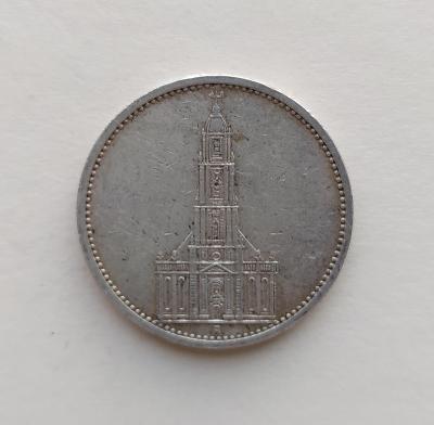 5 Reichsmark 1935 A Říšská marka věž kostela  Ag mince stříbro