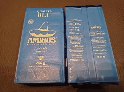 italská mletá káva Amigos  Qualita Blue 2x250g na espresso