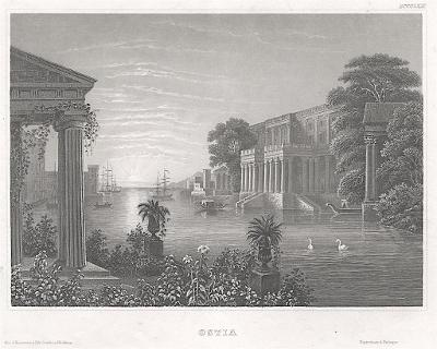 Ostia, Meyer, oceloryt, 1850