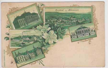 Jilemnice, celkový pohled, radnice, tkalcovna F. M