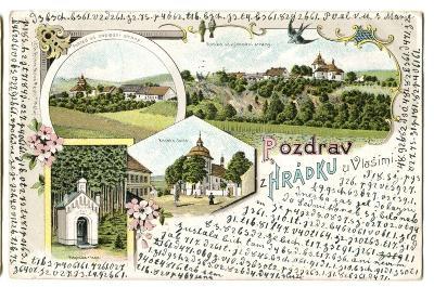 Hrádek u Vlašimi, Benešov, litografie