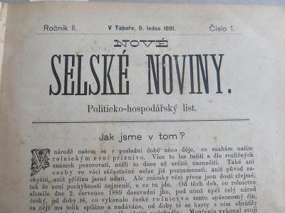 Selské noviny. Nové selské noviny. Politicko - hospodářs