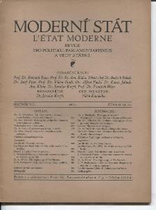 Moderní stát, ročník VII, číslo 10 - 11/1934. Revue pro