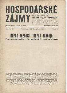 Hospodářské zájmy, ročník XII, číslo 1/1938. Časop