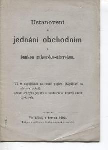 Ustanovení o jednání obchodním s bankou rakousko - uhersk