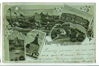 Mladá Boleslav, litografie, továrna