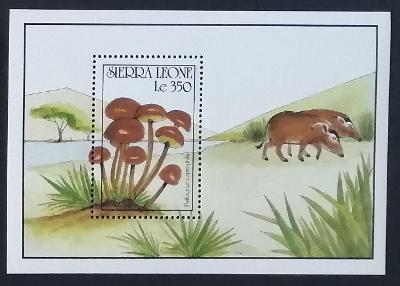 Sierra Leone 1990 Bl.152 7,5€ Houby Afriky, Psilocybe coprophila