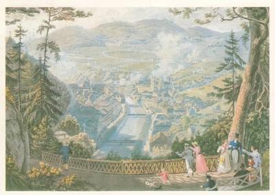 pohlednice Karlovy Vary - pohled z Výšiny Viléma III. (E. Gurk, 1835)
