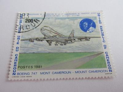 Prodávám známky Kamerun 1981, Boeing 747, 10 let kamerun.aerolinií