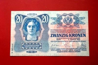 Bankovka 20 Korun 1913 Bez Přetisku Velmi Pěkná Rakousko-Uhersko -ČSR