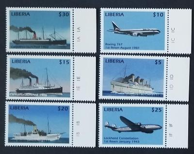 Libérie 1999 Mi.2540-5 6,5€ Lodě a letadla světa