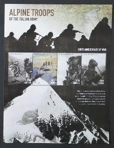 Libérie 2013 Mi.6620-3 12€ Italské jednotky v Alpách, válka