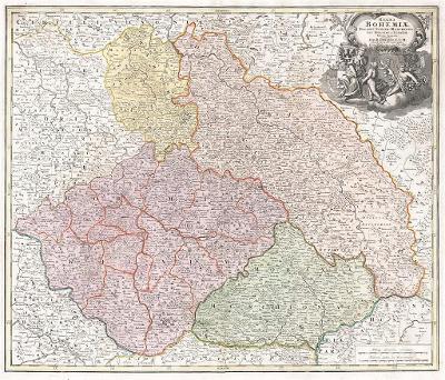 Homann J.B.: Regni Bohemiae, mědiryt, 1720