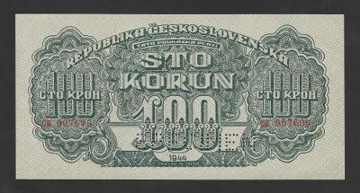 💎 100 korun 1944 serie CB - SPECIMEN DOLE * špičkový stav UNC !💎
