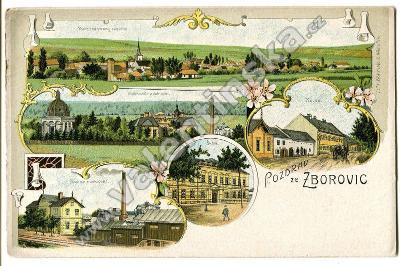 Zborovice, Kroměříž, , litografie, továrna, nádraží