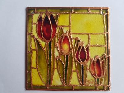 tulipány na skle - montáž