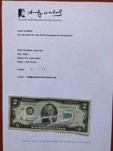 ANDY WARHOL!ORIGINÁLNÍ podepsaný DVOJDOLLAR  !!! UNIKÁT!!