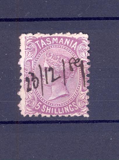 Anglické kolonie, Austrálie, Tasmanie, 5 shillings, 7 - Filatelie
