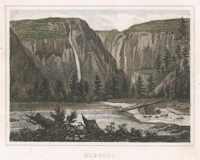 Labský vodopád, Kleine Universum, oceloryt, (1840)