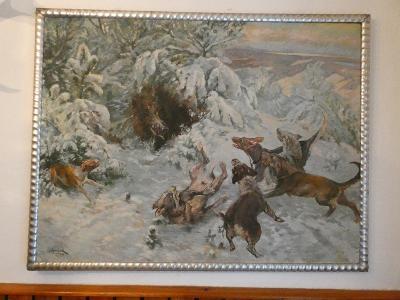 Běhounek - Štvanice na černou - olej plátno 125 x 95 cm