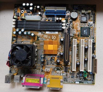 Starší základní deska včetně CPU i chlazení-funkční ověřená