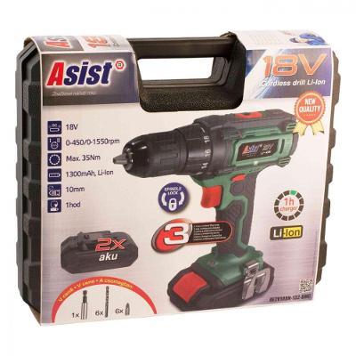 Asist Aku vrtačka AE2V18DN-132-BMC, 2x baterie