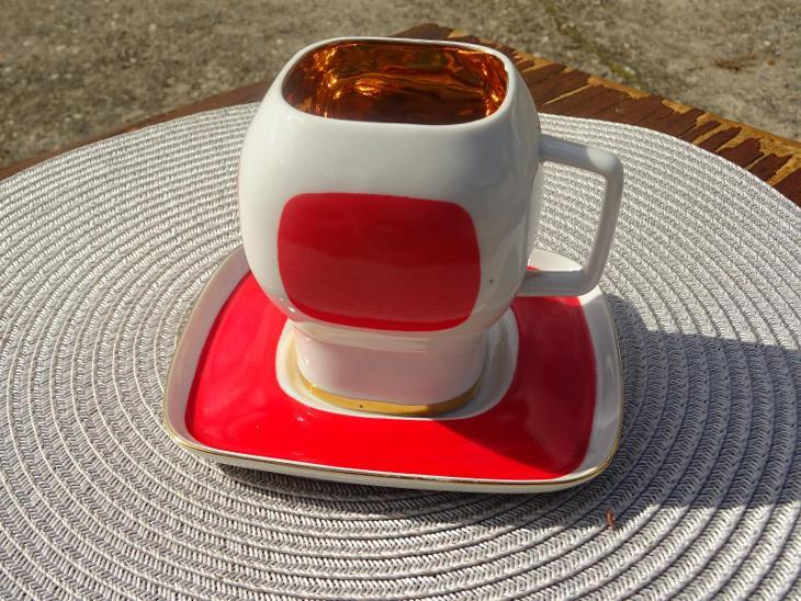 ČST X. MTF - FIT - starý dizajnový hrnek s talířkem - od kačky - Porcelán